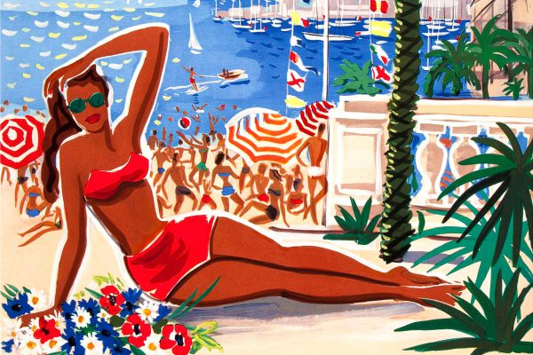 E5E8R6 Vintage poster Cote d'Azur Pullman Express French Railway Travel 1930's South of France